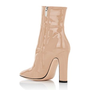 Women's Nude Chunky Heel Boots Pointy Toe Patent Leather Ankle Boots