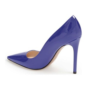 Cobalt Blue Shoes Patent Leather Pointy Toe Pumps Office Heels