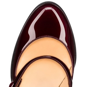 Bordeaux Mary Jane Escarpins Vintage Chunky Talons