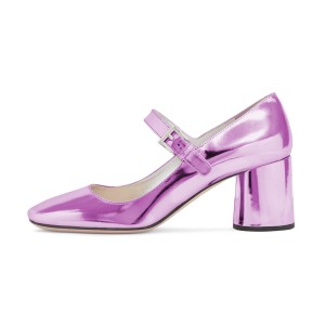Women's Fashion Violet Mary Jane Pumps Square Toe Chunky Heels Shoes