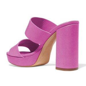 Fuchsia Mule Heels - Plateforme à bout ouvert - Talons chunky pour Office Lady
