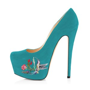 Teal Shoes Floral Print Suede Chunky Heel Platform Pumps by FSJ