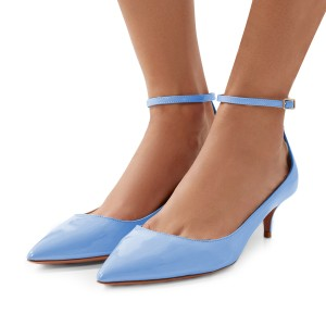 Light Blue Patent Leather Pointed Toe Ankle Strap Kitten Heels Shoes