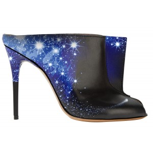 Midnight Sky Trending Mule Heels Key Hole Stiletto Heels