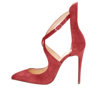 Red Suede Shoes Pointy Toe Cross over Strap Stiletto Heel Pumps