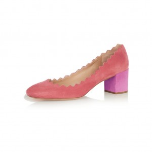 Rose bout rond Chunky Talons Escarpins Chaussures confortables