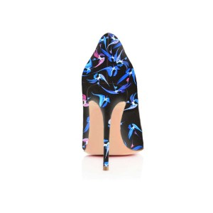 Women's Blue Floral-Print Pointed Toe Stiletto Heels Pumps Shoes