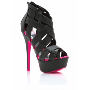 Black Vegan Leather Platform Heels Caged High Heel Ankle Strap Sandals