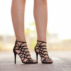 Black Cut out Caged Stiletto Heels Gladiator Sandals Peep Toe Sandals