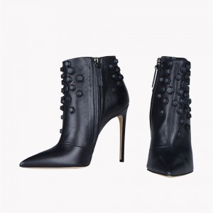 Black Studs Shoes Pointy Toe Stiletto Heel Booties à la cheville