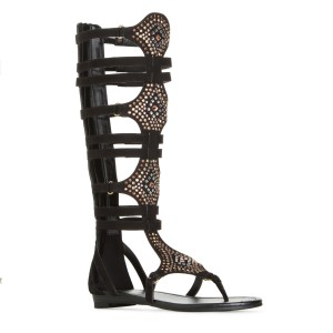 Lelia Black Knee High Sandals Gladiator Sandales à lanières en strass