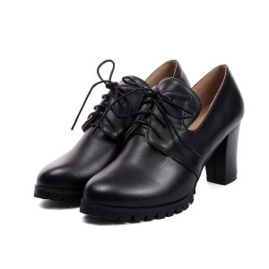 Talons Oxford noirs à lacets bout rond Chaussures à talons chunky