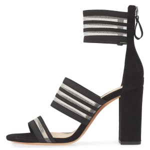Black Mesh Ankle Strap Chunky Heel Sandals