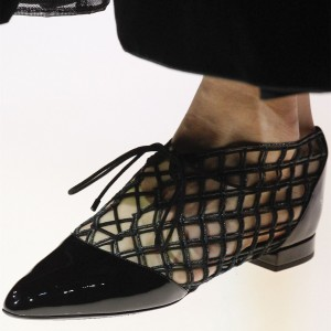 Black Nets Lace Up Pointy Toe Flats Chaussures confortables