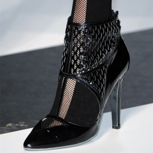 Black Patent Leather Ankle Booties Pointy Toe Nets Summer Boots