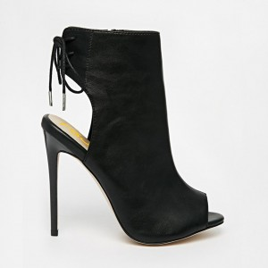 Black Peep Toe Booties Stiletto Heel Slingback Shoes for Women