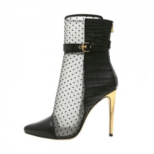 Black Polka Dots Mesh Stiletto Boots Buckles Ankle Boots