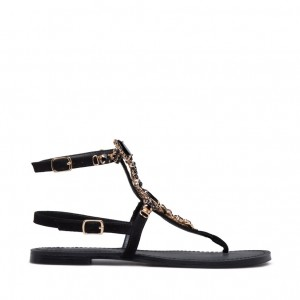 Tongs en strass noir confortables sandales de plage