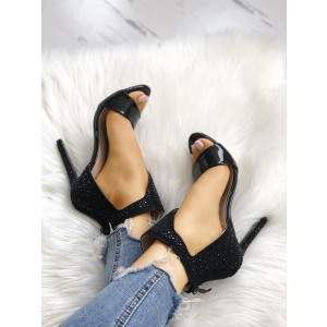 Black Rhinestone Open Toe Sandals Stiletto Heels Sexy Shoes