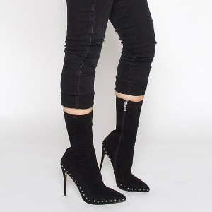 Rivets noirs bottes à la mode bout pointu talons stiletto bottines en daim