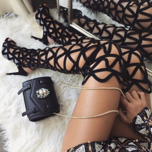 Black Suede Cadged Fashion Boots Stiletto Heel Over the Knee Boots