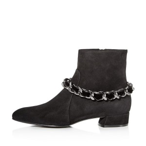 Bottines en daim noires à talon carré