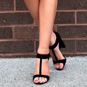 Black Suede T Strap Sandals Chunky Heel Office Sandals
