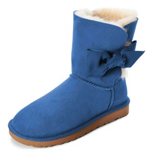 Blue Winter Boots Flat Suede Comfy Mid Calf Snow Boots US Size 3-15