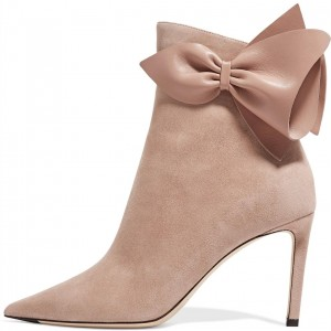Bottines stiletto en daim blush bow