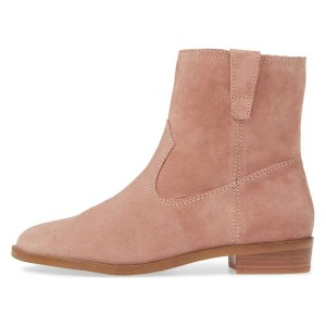 Bottines plates en daim Blush