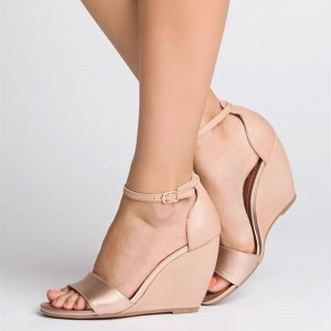 Blush Wedge Heels Sandals Open Toe Ankle Strap Sandals