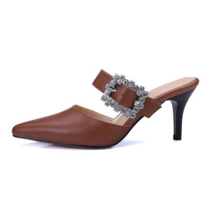 Brown Kitten Heels Pointy Toe Heeled Mules with Rhinestone Buckle