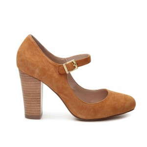 Escarpins chunky en bois bruns Mary Jane chaussures à bouts ronds