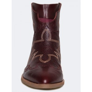 Maroon Slip on Boots Boots - Bottes mode à talons bas
