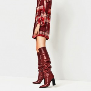Bottes Slouch Rouges à bouts pointus Talons Chunky