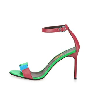 Women's Green Stitched Color Open Toe Stiletto Heel Ankle Strap Sandals