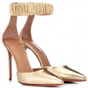 Custom Made Gold Closed Toe Ankle Strap Heels