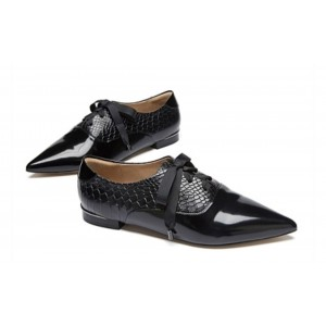 Custom Made Black Lace up Python Pointy Toe Flats Formal Shoes