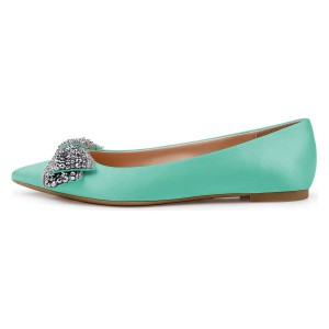 Strass Cyan Satin Pointu Toe Flats confortables