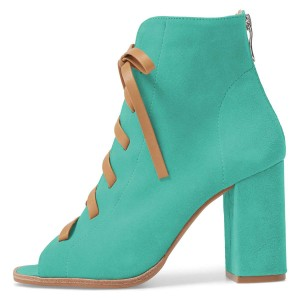 Cyan Suede Lace Up Bottes à talons Chunky