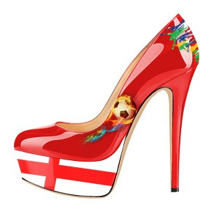 England Design Stiletto Heels - Escarpins sexy rouges à plateforme pour les fans de football