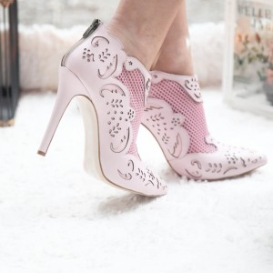 Fashion Pink Carved Dress Shoes Pointy Toe Stiletto Heels Ankle Boots