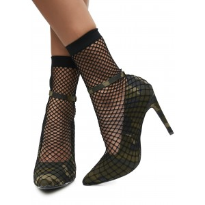 Fatigues Nets Ankle Strap Heels Pointy Toe Sitletto Heels Pumps