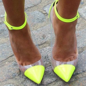 Neon Yellow Pointy Toe Clear Heels Ankle Strap Stiletto Heel Pumps