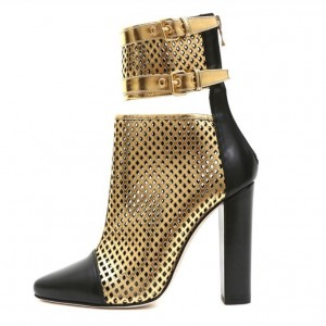 Gold and Black Caged Chunky Heel Boots Hollow out Buckles Ankle Boots