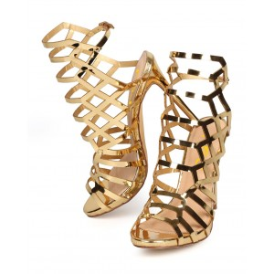 Women's Gold Slingback Heels Hollow out Stiletto Heels Caged Sandals