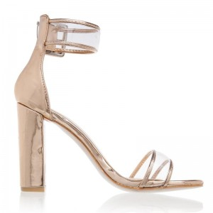 Or bout ouvert chaussures sandales à talons chunky clair taille US 3-15