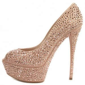 Blush Prom Shoes Strass Hotfix Escarpins à plateforme à bout ouvert