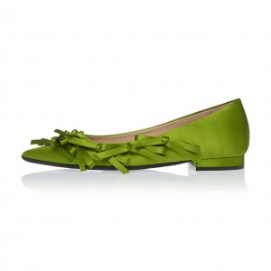 Green Satin Bow Pointy Toe appartements confortables