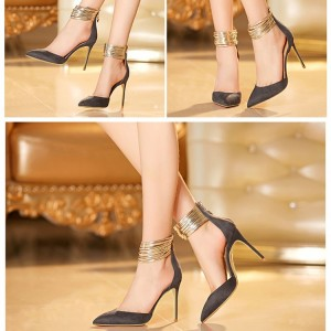 Dark Grey Closed Toe Sandals Gold Ankle Strap Stiletto Heel Shoes